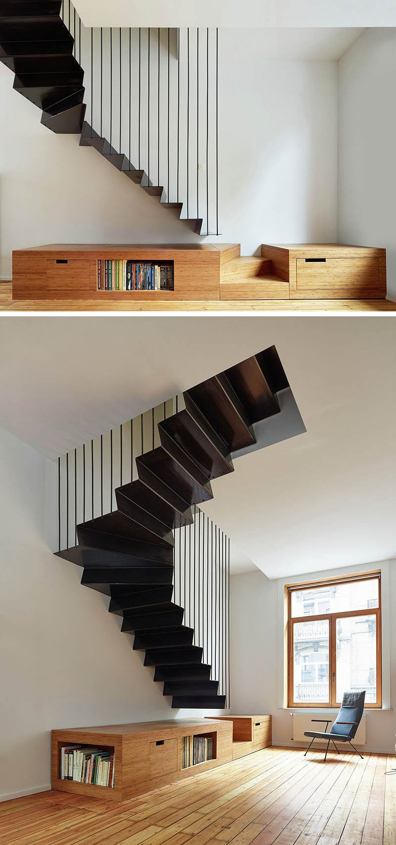An Elegant Touch With Black Stairs In Modern Homes (1)