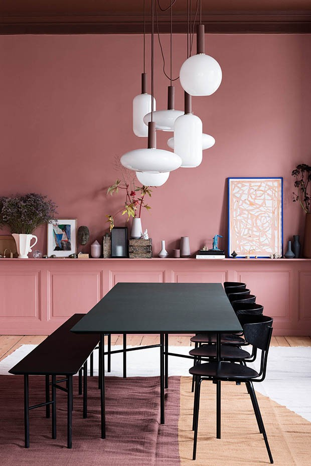 Black Furniture with Pink Dinning Room